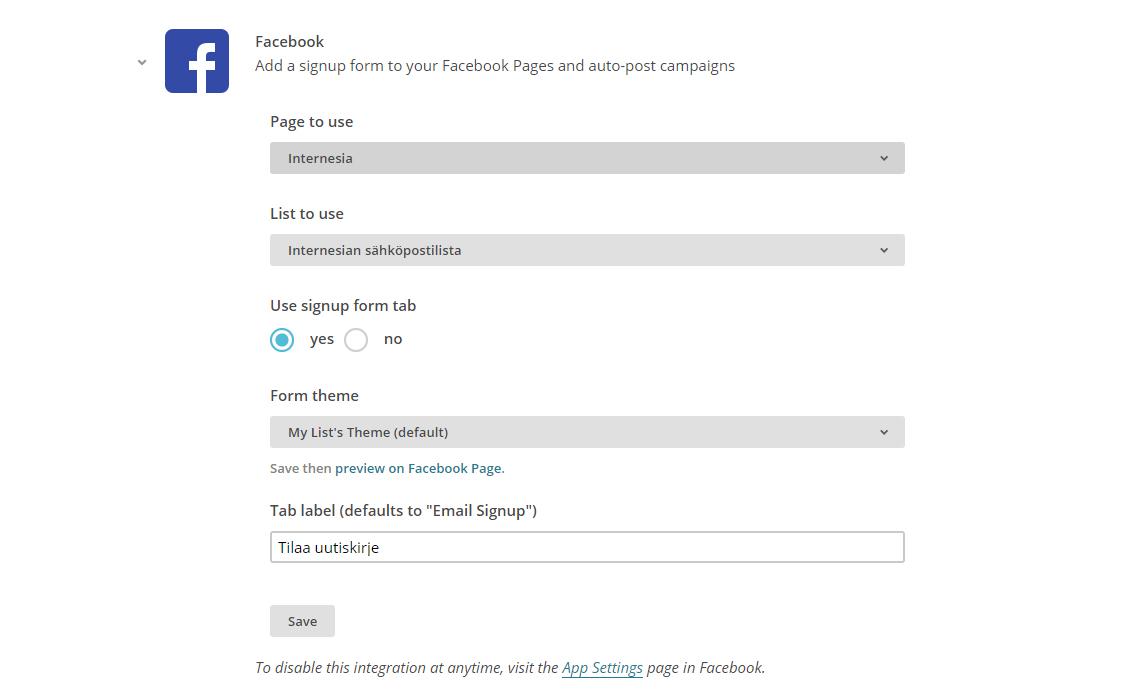 MailChimpin asetukset uutiskirje-välilehden lisäämiselle Facebookkiin